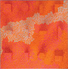 Fluorescent Pink, White, Amber Line on Orange