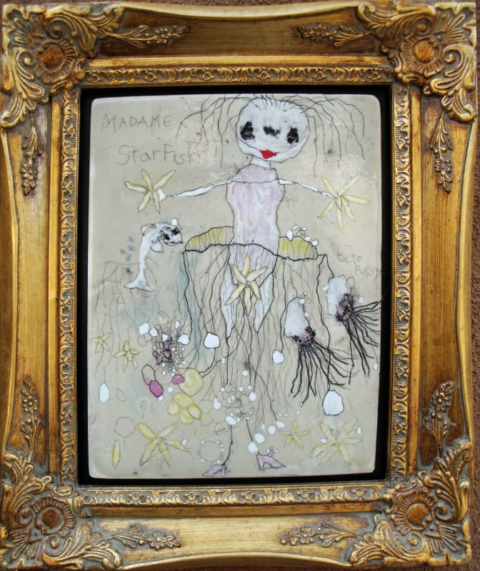 Madame Starfish, by Richard Campiglio 10x13 in mixed media 2013 (sold)