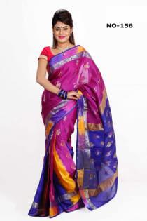 violet blue +Soft Silk-Katan-Saree-No.156