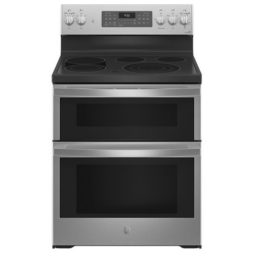 """GE Profile™ 30"""" Smart Free-Standing Electric Double Oven Convection Range with No Preheat Air Fry - PB965YPFS"""