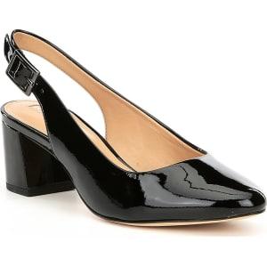 Arian Patent Leather Slingback Block Heel Pumps aFN88GaJJ3