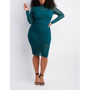 b7797fbee7205 Plus Size Ruched Mesh Bodycon Dress from Charlotte Russe.
