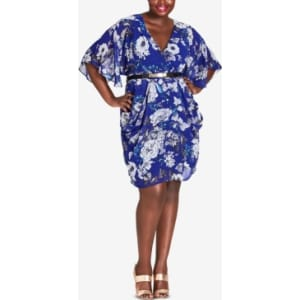 City Chic Trendy Plus Size Belted Floral-Print Dress from Macy\'s.