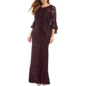 R & M Richards Plus Size Long Sequin Lace Bell Sleeve Gown