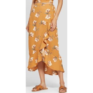 4b4e8d97e Women's Floral Print High-Low Hem Maxi Skirt - Xhilaration Yellow L ...