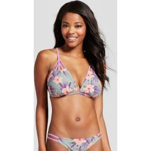 5d5417d1d0 Women s Strappy Triangle Bikini Top - Xhilaration Blue Floral D Dd ...