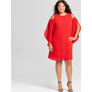 Women\'s Plus Size Cold Shoulder Dress - Ava & Viv Ripe Red 4x