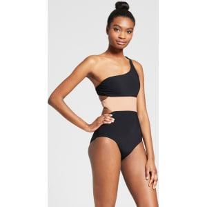 e162bb0b45f92 Sunn Lab Swim Women s Color Block One Shoulder Cut Out One Piece Swimsuit -  Black Sand Xl
