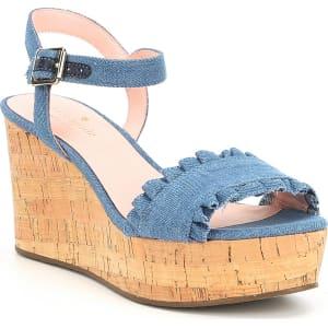 89376b27ee9 Kate Spade New York Tomas Denim Ruffle Detail Wedge Sandals from Dillard s.