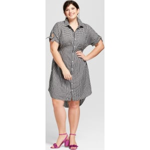 d95cb7426fe97 Women s Plus Size Gingham Short Sleeve Shirtdress - Ava   Viv Black 4x from  Target.