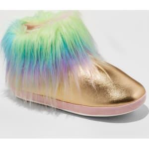15fe93a44664 Women s Metallic Unicorn With Fixed Faux Fur Cuff Slipper Boots ...