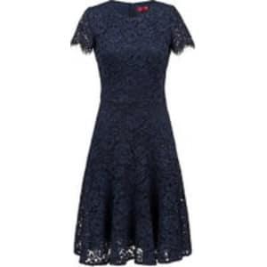 Short-sleeved lace dress with scalloped skirt HUGO BOSS