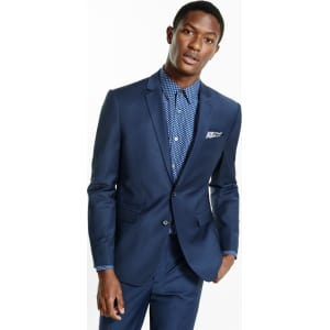 7261029f3 Express Mens Slim Navy Performance Stretch Wool-Blend Suit Jacket ...