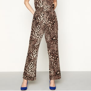 bfab5993ba4 Lolly's Laundry - Brown Leopard Print Chiffon Wide Leg Casual Trousers