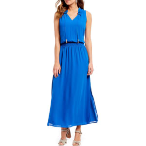 Ivanka Trump Smocked Ruffle Neck Maxi Dress From Dillard S