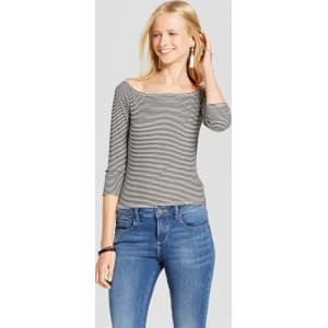 0d878f9428d Women's Knit Bardot Long Sleeve T-Shirt - Mossimo Supply Co. Black ...