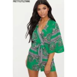 625df961a4c6c Womens Prettylittlething Paisley Patterned Playsuit - Green from Next.