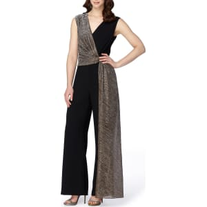 Tahari Asl Crepe With Metallic Overlay Jumpsuit From Dillards