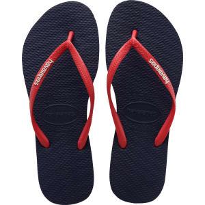 d1e44683e Havaianas Slim Logo Pop Up Flip Flops Navy Blue Ruby Red - Womens ...