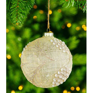 southern living nostalgic noel collection burlap pine cone ball ornament