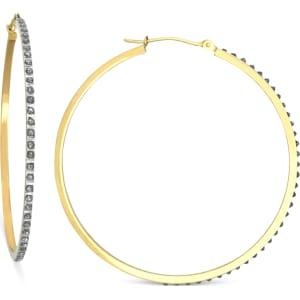 14k Gold Earrings Diamond Accent Hoop Earrings From Macy S