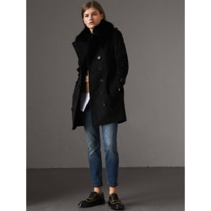 2beafaf4eb736a Burberry Wool Cashmere Trench Coat With Fur Collar, Size: 12, Black ...