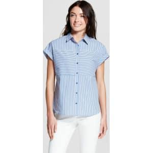 0e34c6dc6c Women's Striped Short Sleeve Shirt - Como Black Blue/White Xl from Target.