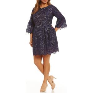 Eliza J Plus Bell-Sleeve Lace Dress