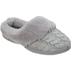 5a63eeee595 Women s Dluxe by Dearfoams Carol Cable Knit Scuff Slippers - Gray S ...