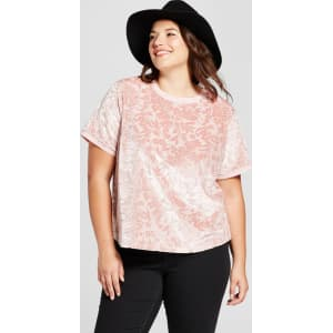 8093726de14 Women s Plus Size Short Sleeve Velour T-Shirt - A New Day Pink 2x ...