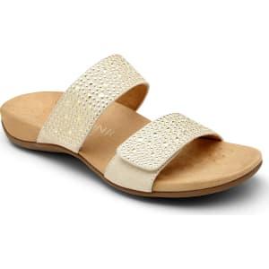 Vionic Samoa Studded Leather & Textile Banded Slip-On Sandals