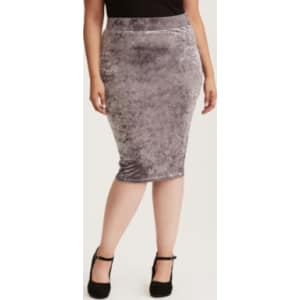 best quality for superior materials great deals on fashion Crushed Velvet Midi Pencil Skirt in Black/White