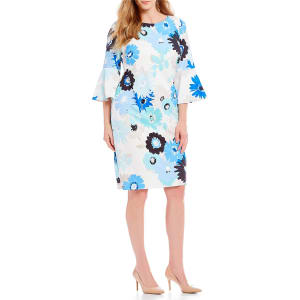 1c231fdb5bf Calvin Klein Plus Size Floral Print Bell Sleeve Sheath Dress from Dillard s.