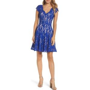e3b61858cb5 Petite Women's Eliza J Lace Fit & Flare Dress, Size 12p - Blue from ...