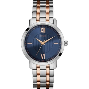 Guess Mens Silver And Rose Gold Watch With Blue Dial W0716g2 From