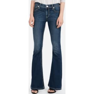 5826b067244 Express Womens Mid Rise Thick Stitch Stretch Bell Flare Jeans from ...