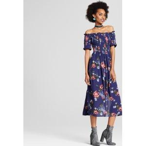 976041b80e Women s Smocked Off the Shoulder Midi Dress - Xhilaration (Juniors ...