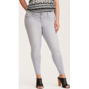 a5d7be0285a Higher-Rise Skinny Jeggings in Light Grey Wash from Torrid.