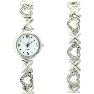 M Z Berger & co.hugs and Kisses Bracelet Watch Set, Silver