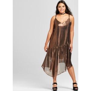 Women\'s Plus Size Metallic Asymmetrical Dress - Xhilaration Rose Gold 4x