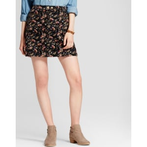 Women's Floral Corduroy Skirt - Mossimo Supply Co  Black 18