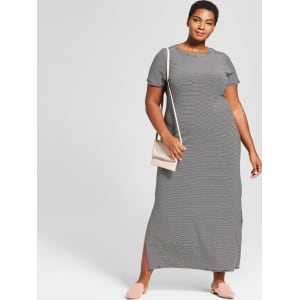 Women\'s Plus Size Striped T-Shirt Maxi Dress - Ava & Viv Black 2x