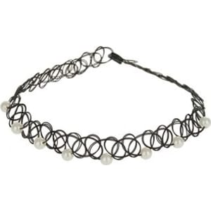 796974915 Mens **Girls Black Pearl Tattoo Choker Necklace, Black from Burton.