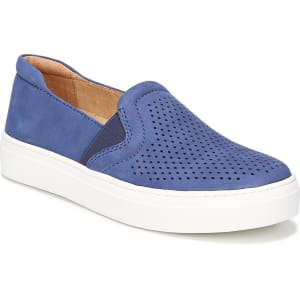 Carly Twin Gore Perforated Casual Leather and Suede Slip-Ons