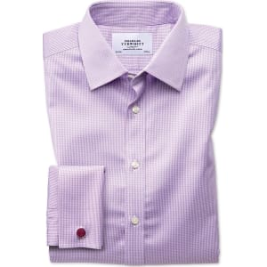 Extra Slim Fit Non-Iron Puppytooth Lilac Cotton Dress Shirt French Cuff  Size 16/38 by