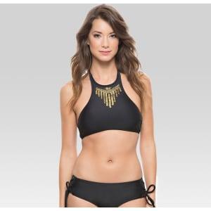 6b8923c0df Women s Embellished High Neck Bikini Swim Top Jet Black - Cleobella ...