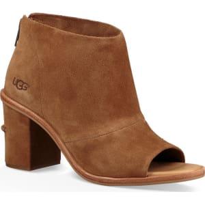 Ginger Suede Peep-Toe Block Heel Shooties