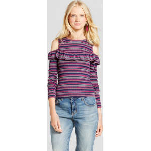 ed9d8097 Women's Striped Knit Cold Shoulder Long Sleeve T-Shirt - Mossimo ...