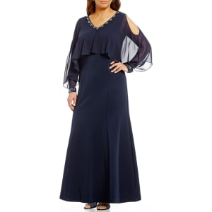23e709cc49e S.L. Fashions Plus Embellished-Neck Capelet Gown from Dillard s.