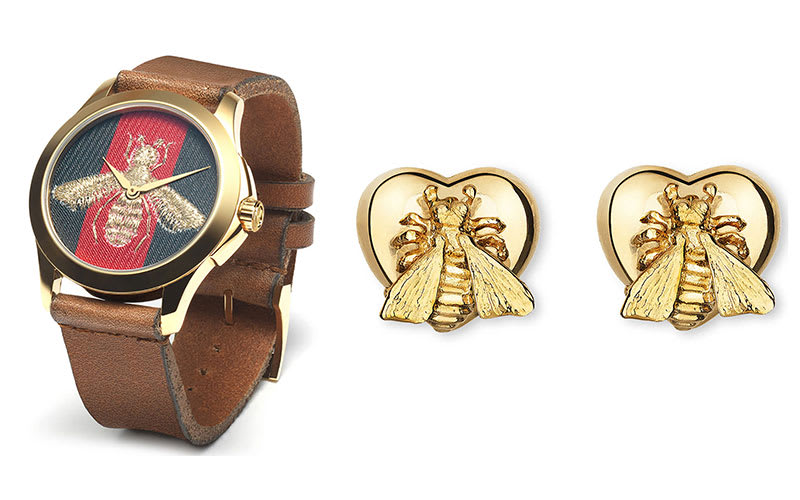 b788630a9 The latest Gucci collection picks up the theme, with sweet bee watches,  pendants and earrings.